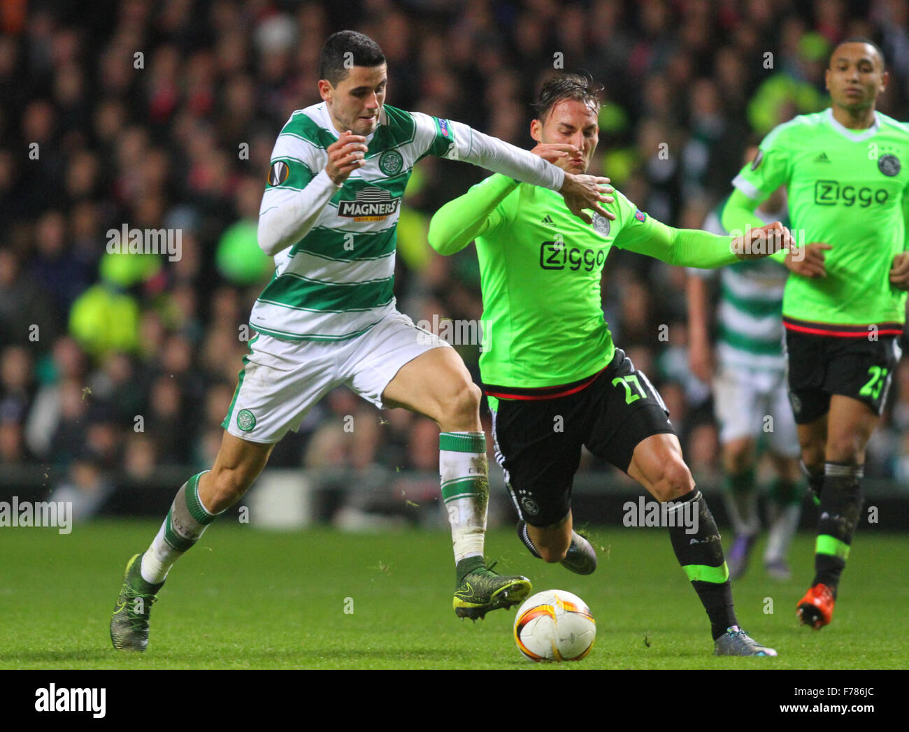 Glasgow, Scotland. 26th Nov, 2015. Europa League. Celtic versus Ajax. Tom Rogic and Nemanja Gudelj Credit:  Action - Stock Image