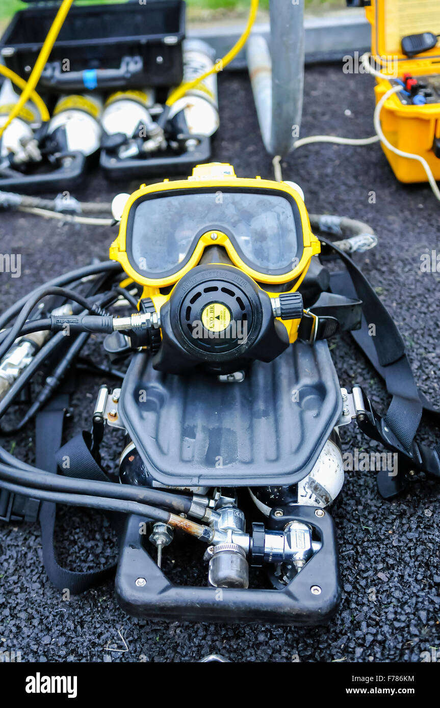 Northern Ireland. 26th November, 2015. Mask and air regulator, part of underwater search equipment laid out ready - Stock Image
