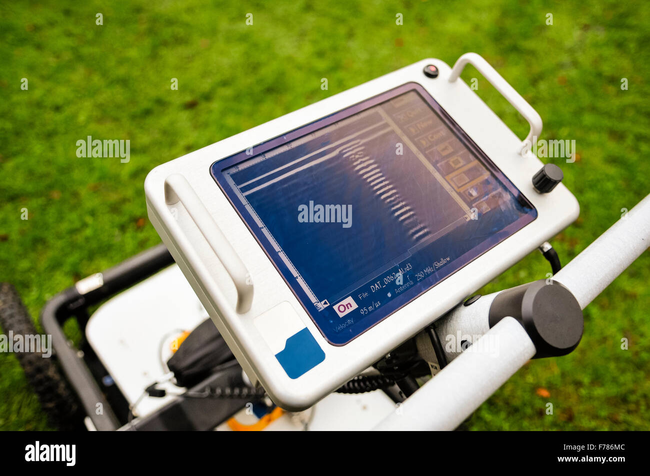 Northern Ireland. 26th November, 2015. A Ground Penetrating Radar mounted on wheels, used to survey below the ground - Stock Image