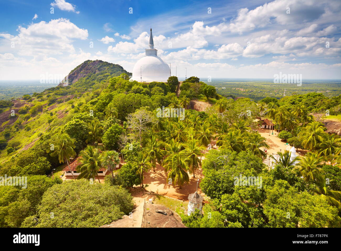 Sri Lanka - Mihintale Temple, view at Mahaseya Dagoba stupa, UNESCO World Heritage Site Stock Photo