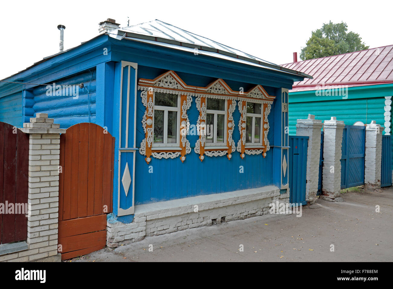 An ornately painted 'fake' house in Suzdal, Suzdalsky District Stock