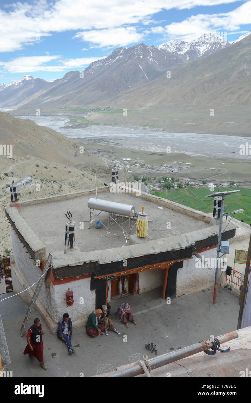 Key Monastery (or Kee, Ki, Kye), Spiti Valley - rooftop view of the Spiti river valley and snow capped peaks of - Stock Image