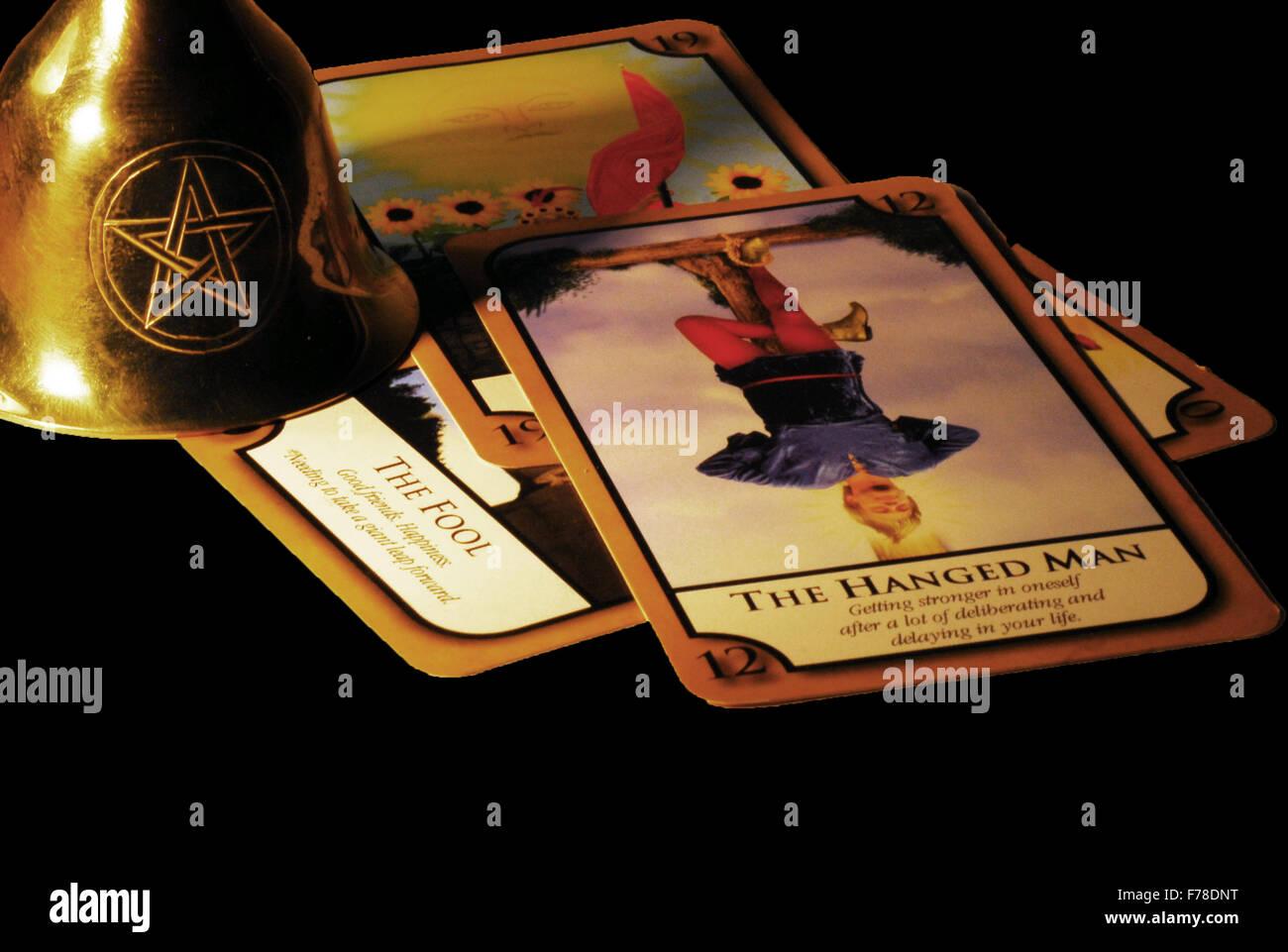 hanged man,tarot,the fool,fortune,fortune teller,tarot cards,pentagram - Stock Image