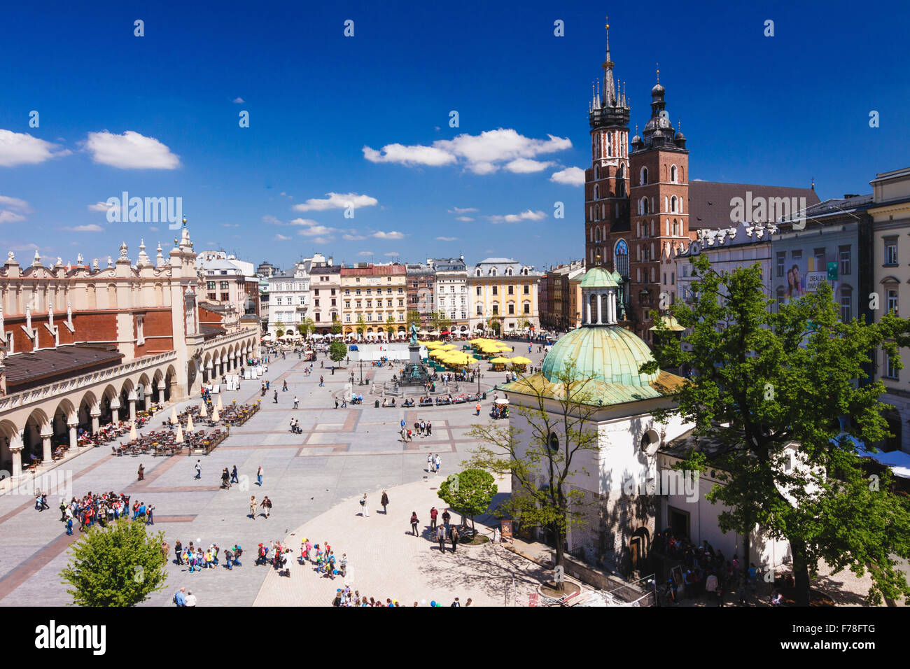 High view of Krakow main Market Square. Krakow, Poland Stock Photo