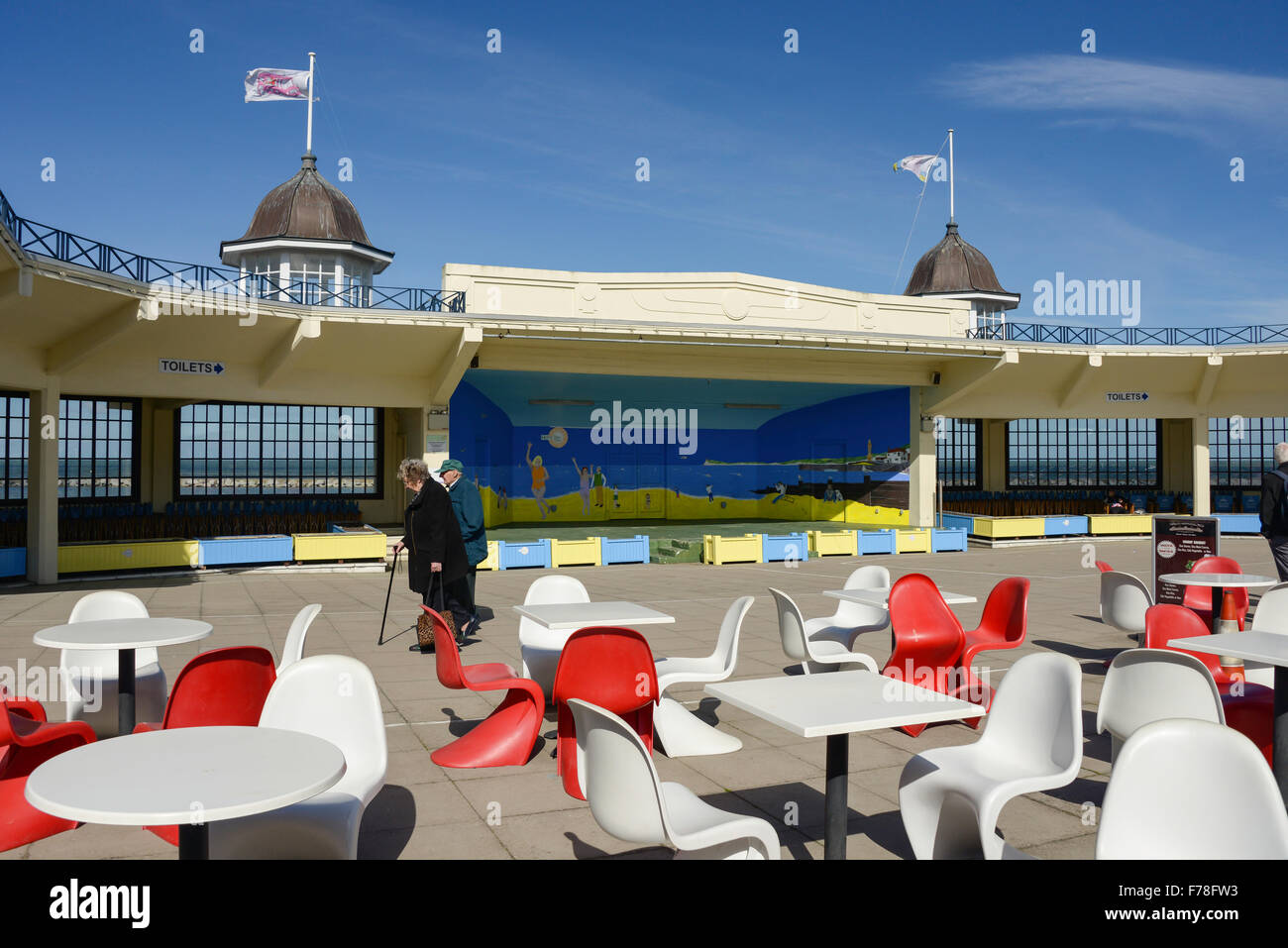 Stage in atrium of Central Bandstand, Herne Bay, Kent, England, United Kingdom - Stock Image