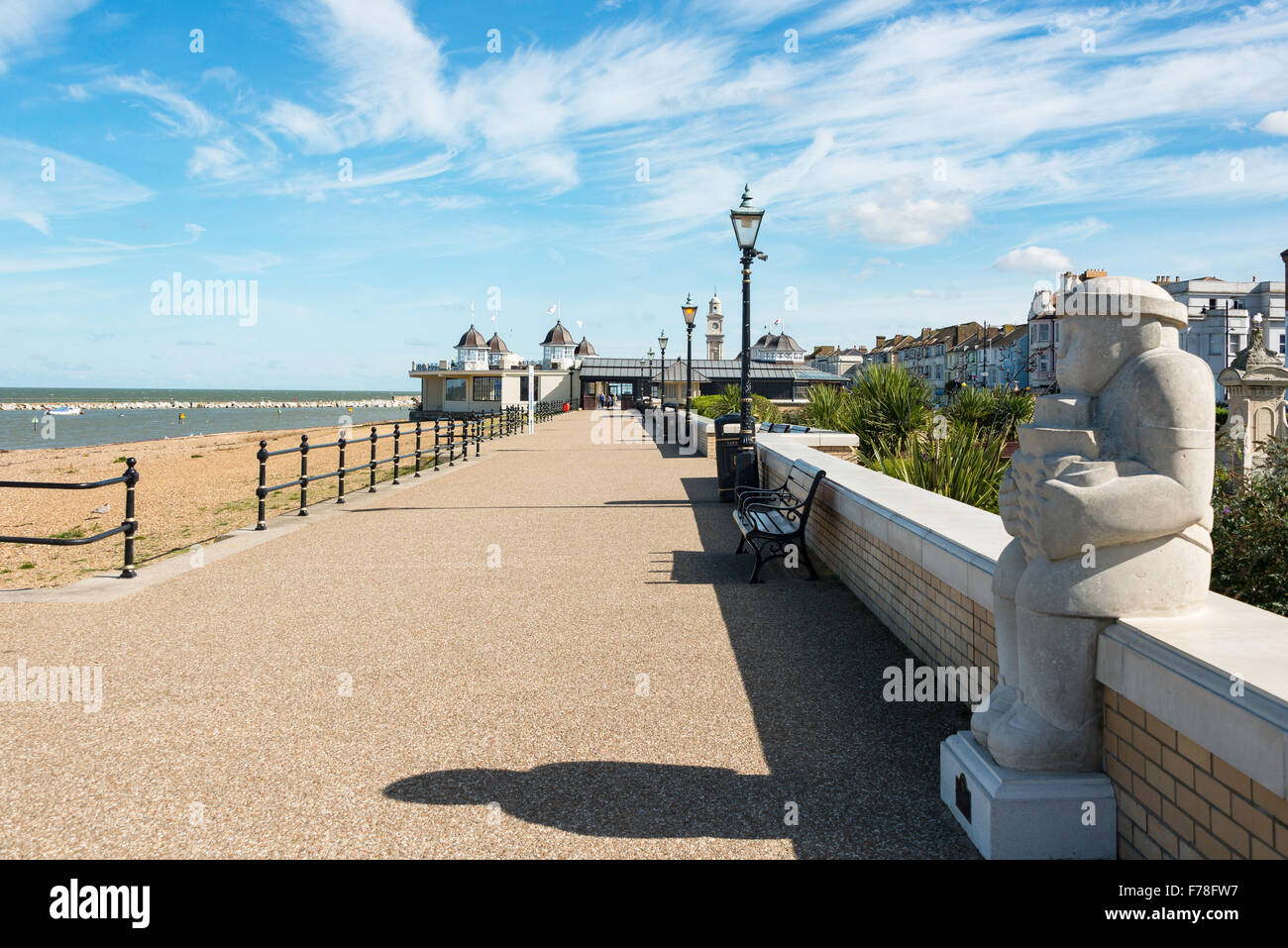 Beach promenade and Central Bandstand, Herne Bay, Kent, England, United Kingdom - Stock Image