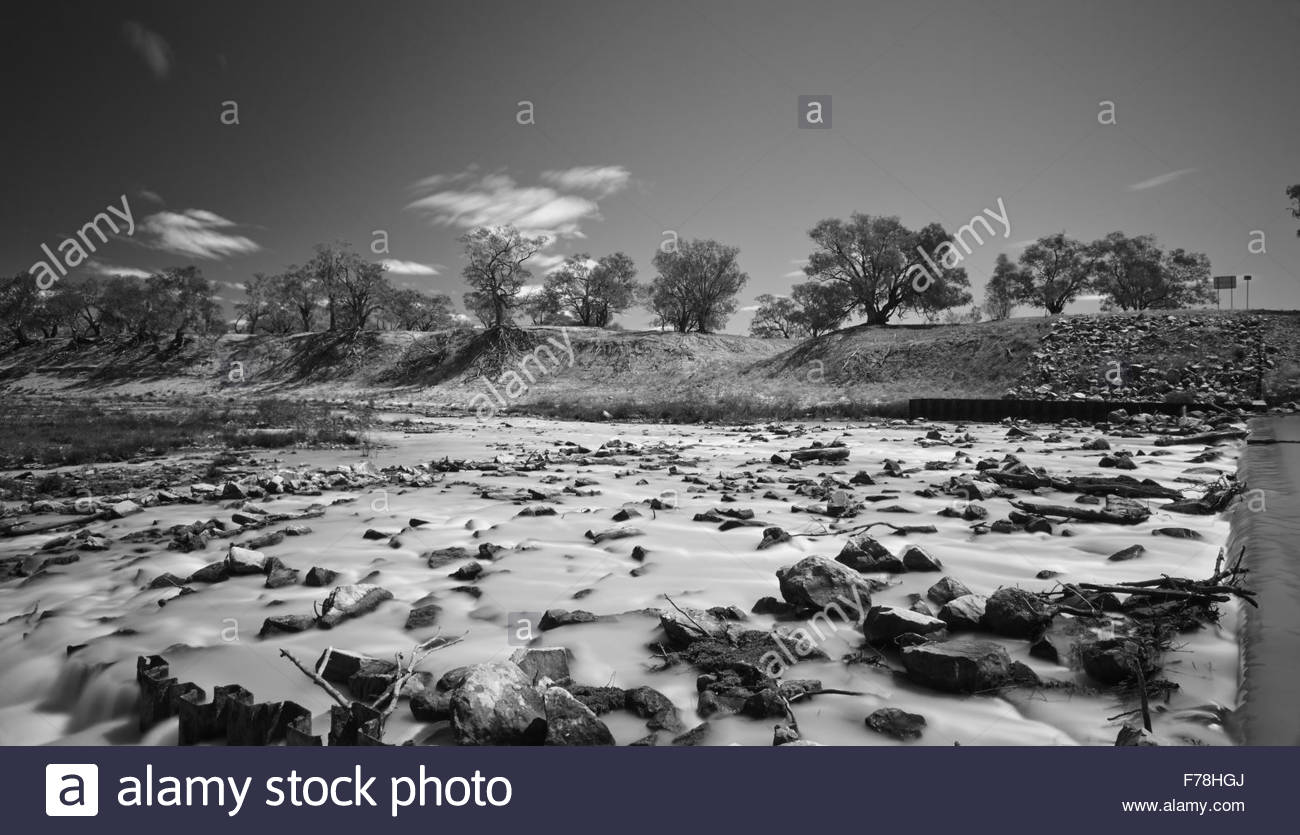 A black and white long exposure image, highlighting the tragic state of Australia's largest river system - the - Stock Image