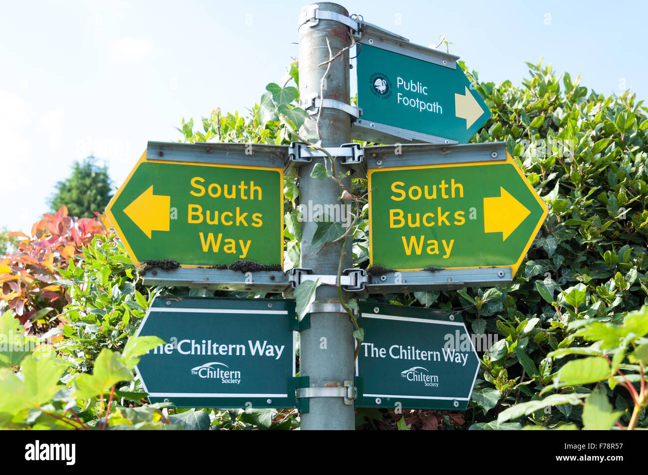 Signs to Chiltern & South Bucks Way walking route, Church Street, Chalfont St Giles Buckinghamshire, England, - Stock Image
