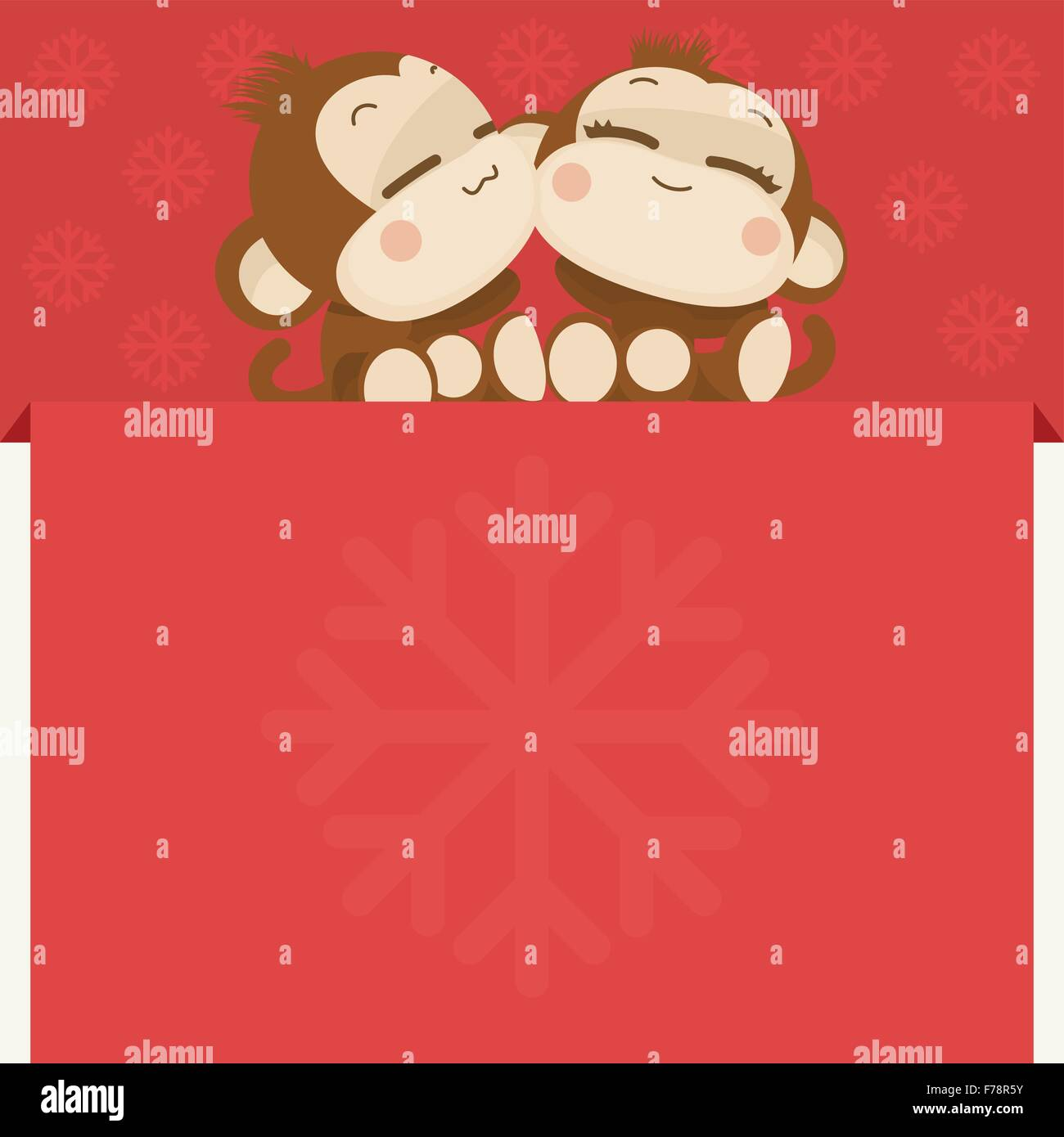cute lovely monkey couple happy new year 2016 vector illustration