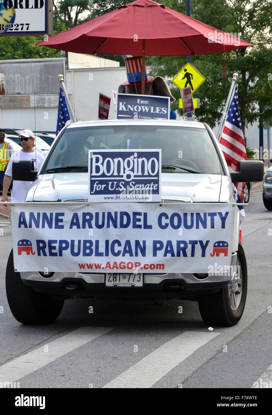 A Republican Party for Anne Arundel County in a Independance Day parade in Annapolis, Maryland - Stock Image