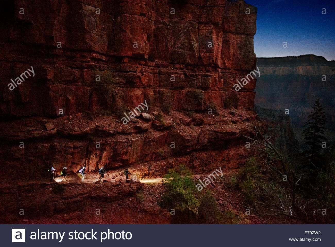 Descending down the North Rim of the Grand Canyon on the North Kaibab Trail. before sunrise trail illuminated by - Stock Image