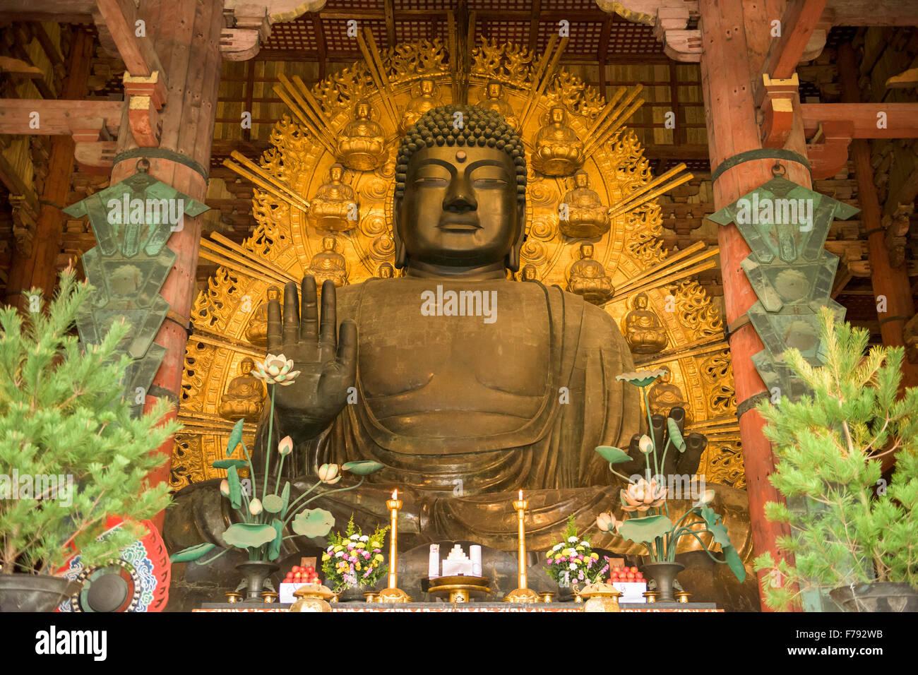 Nara, Japan at the Todaiji Buddha. - Stock Image