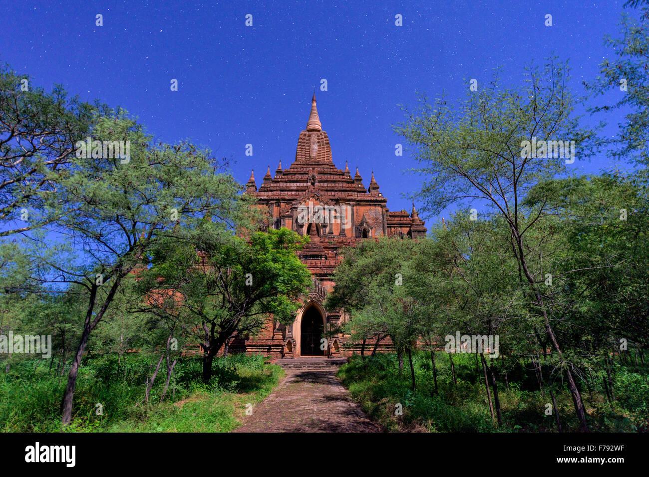 Bagan, Myanmar at Sulamani Temple at night. - Stock Image