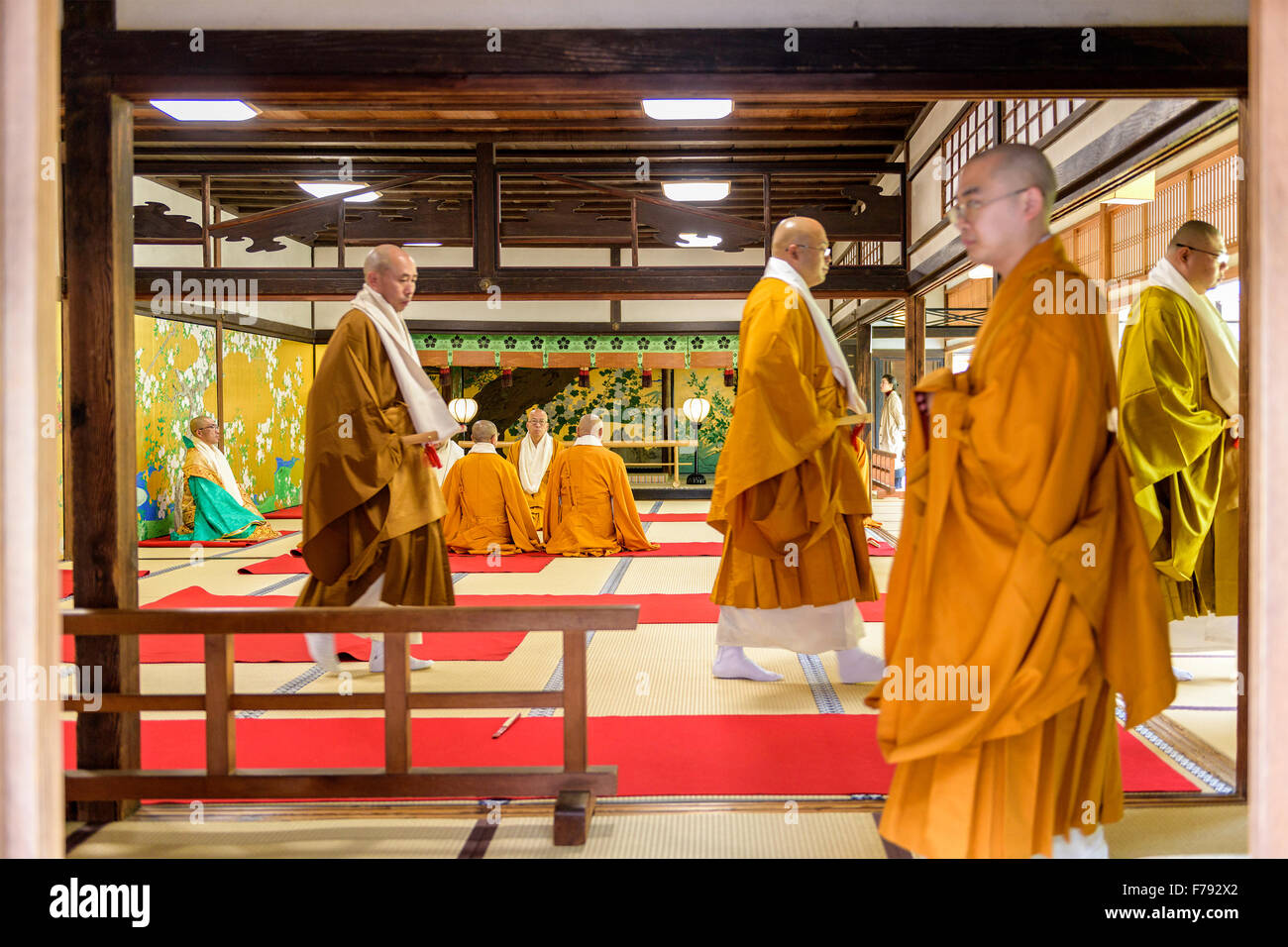 KYOTO, JAPAN - NOVEMBER 21, 2015: Monks peform rites at Chishakuin in Kyoto. - Stock Image