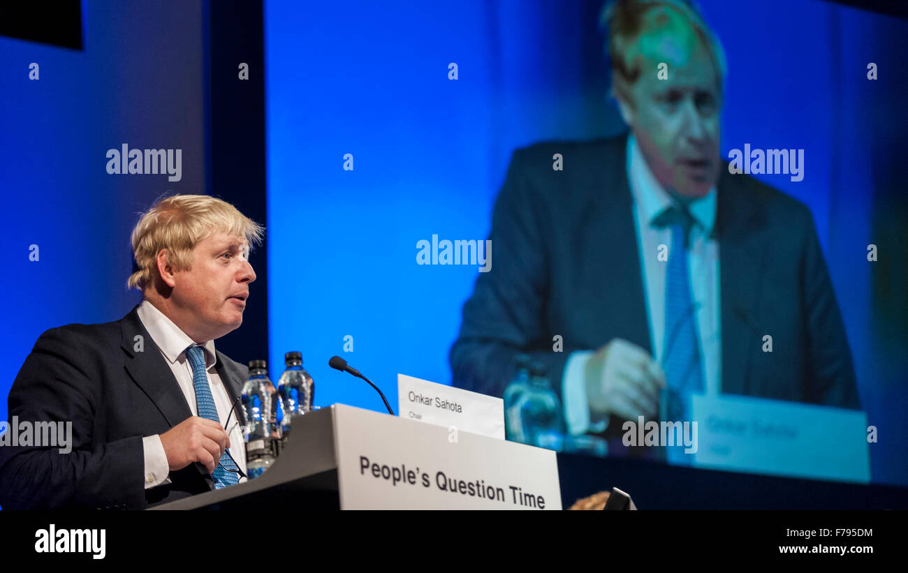London, UK.  26 November 2015.  Mayor of London, Boris Johnson, speaks at People's Question Time, at the Beck - Stock Image
