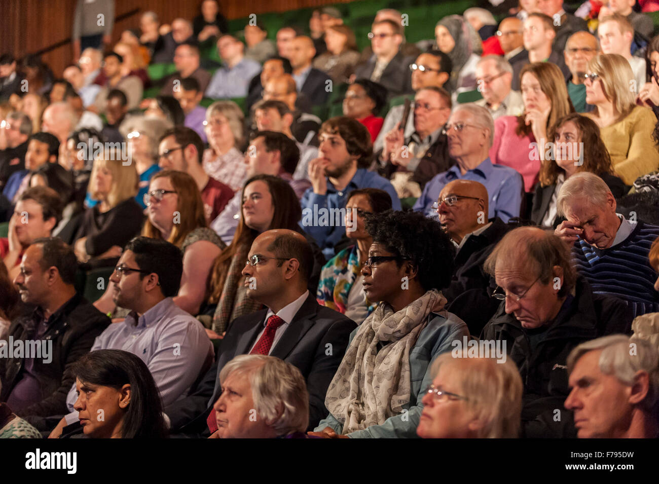 London, UK.  26 November 2015.  Members of the public at People's Question Time, at the Beck Theatre, Hillingdon. - Stock Image
