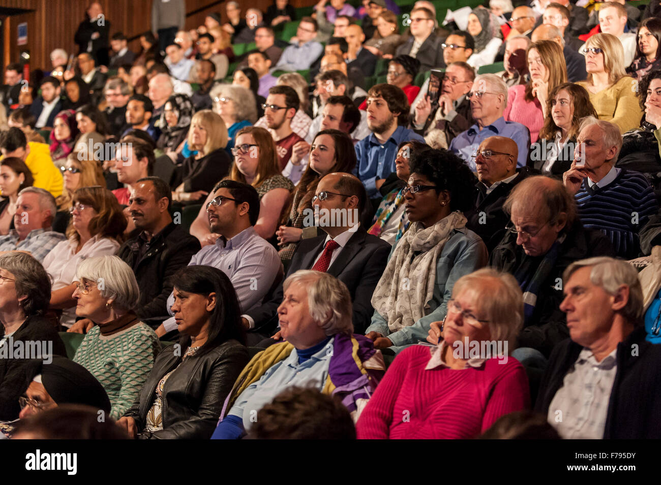 London, UK.  26 November 2015.  Members of the public during People's Question Time, at the Beck Theatre, Hillingdon. - Stock Image