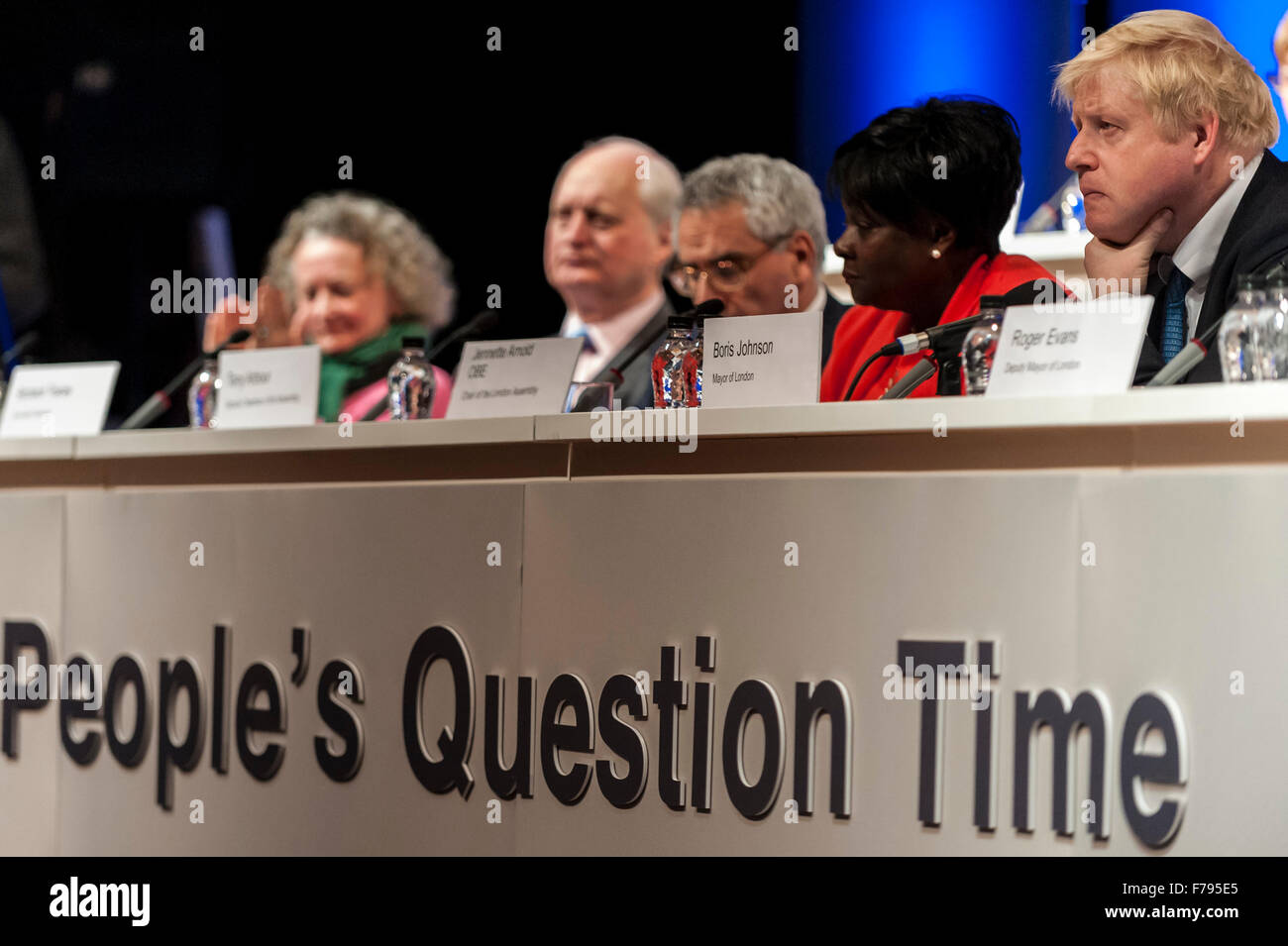 London, UK.  26 November 2015.  Mayor of London, Boris Johnson, attends People's Question Time, at the Beck - Stock Image
