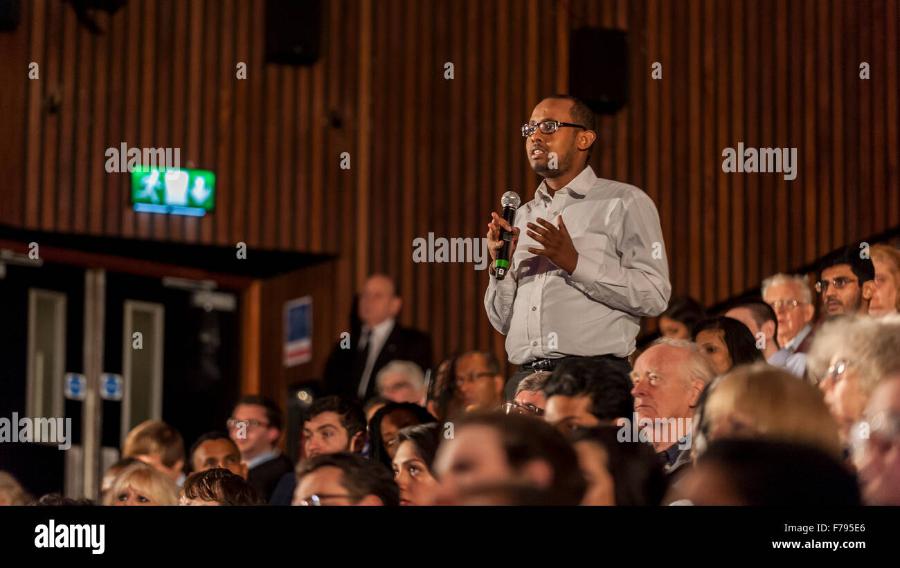 London, UK.  26 November 2015.  A member of the public asks a question during People's Question Time, at the Beck Stock Photo