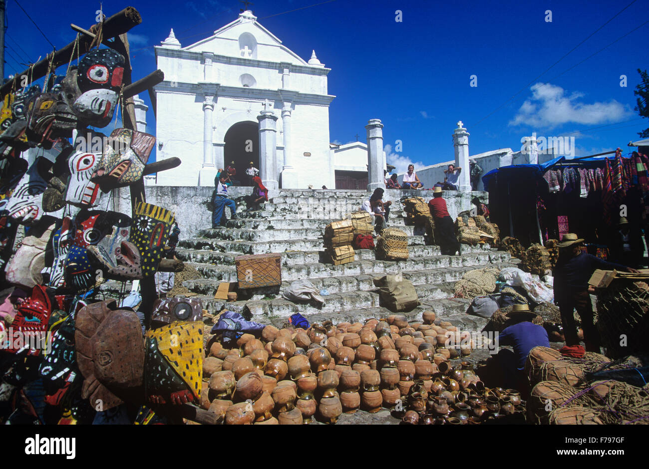 Market day on the plaza in front of El Calvario Chapel, Chichicastenango, Guatemala. - Stock Image