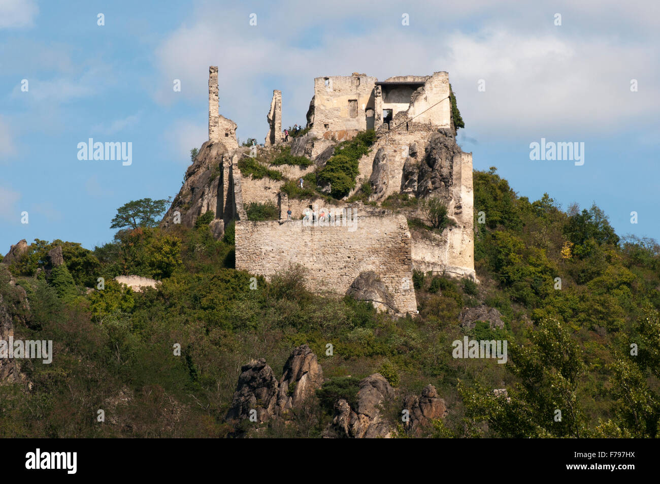Ruined castle at Duernstein (Durnstein) on the Danube, Wachau Valley, Austria - Stock Image