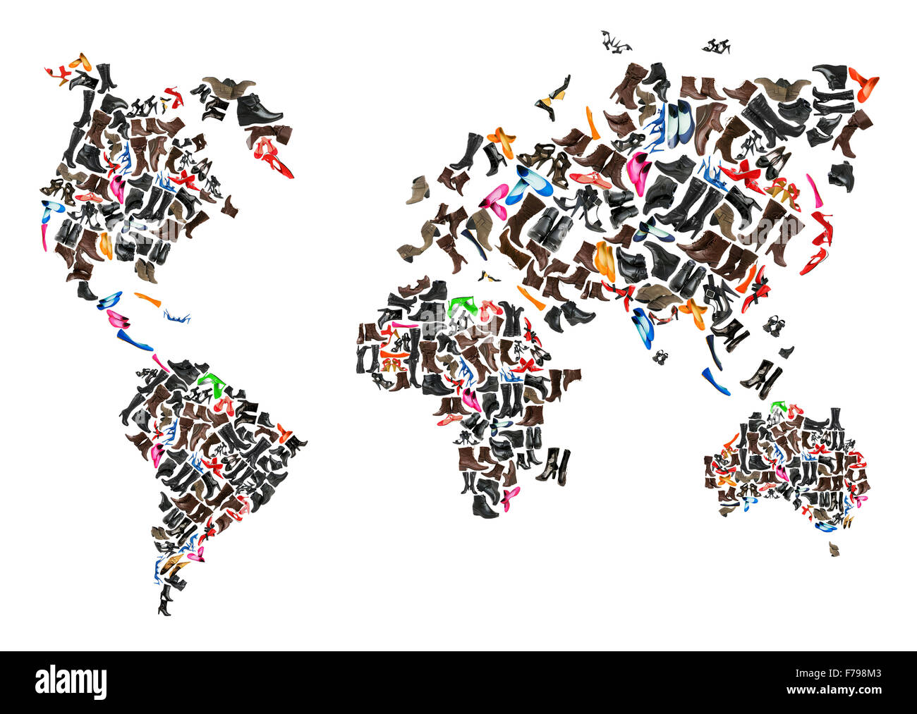 World map made of hundreds of othe shoes - Stock Image
