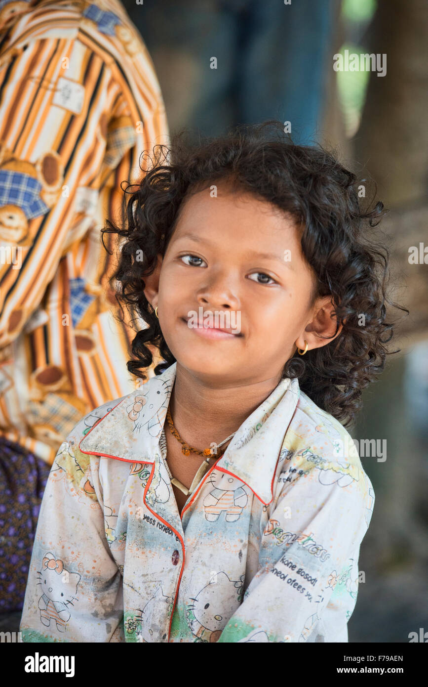Young Khmer Girl With Curly Hair Siem Reap Cambodia