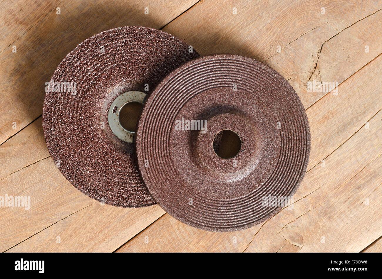 Blade grinder  abrasive flap grinding disc. - Stock Image