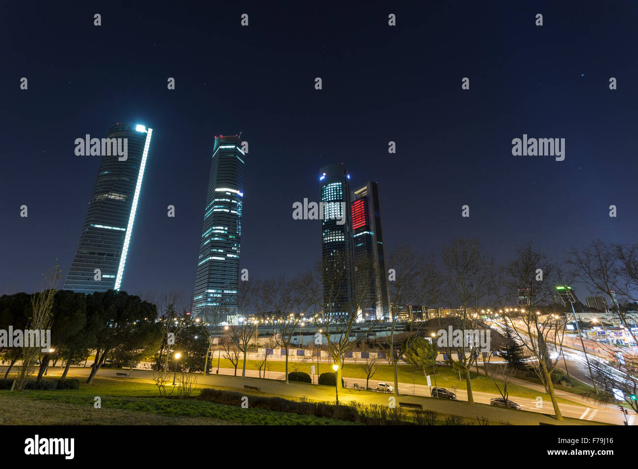 Castellana towers, business center on a Castellana street in Madrid city - Stock Image