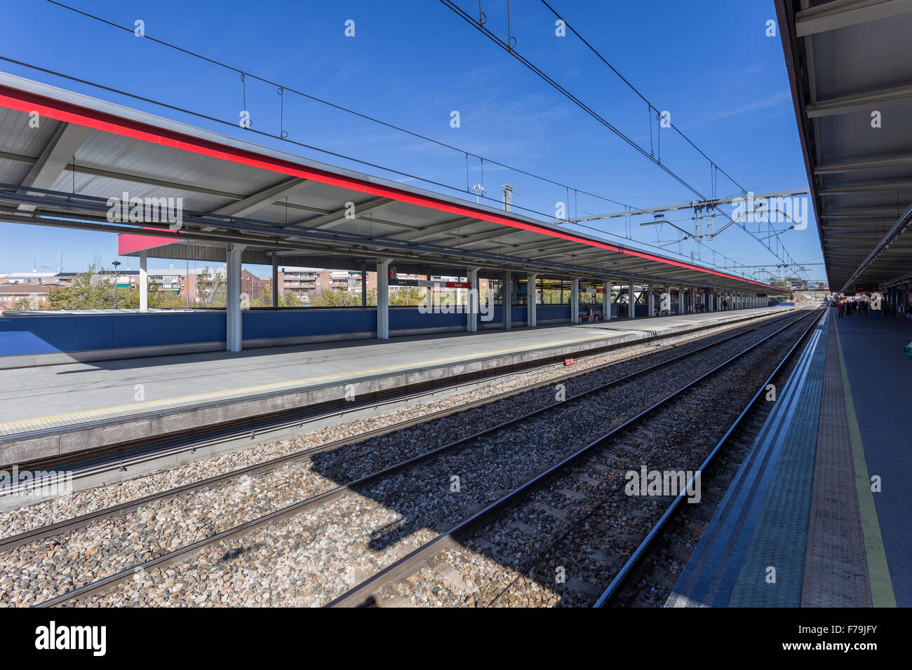 image of a commuter train station in Madrid in Spain Stock Photo