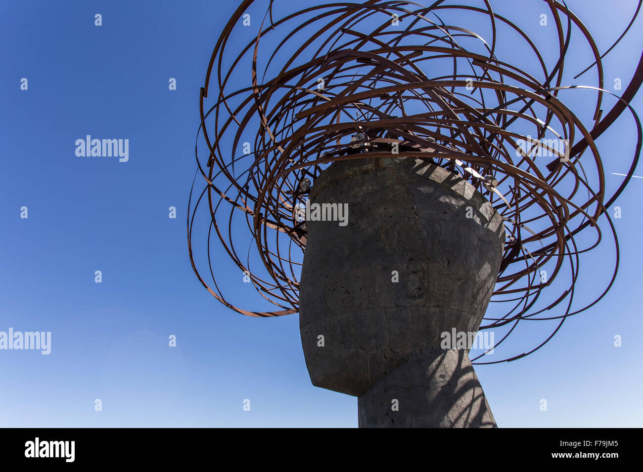 sculpture of the head of Ariadne in the Manzanares Park Stock Photo