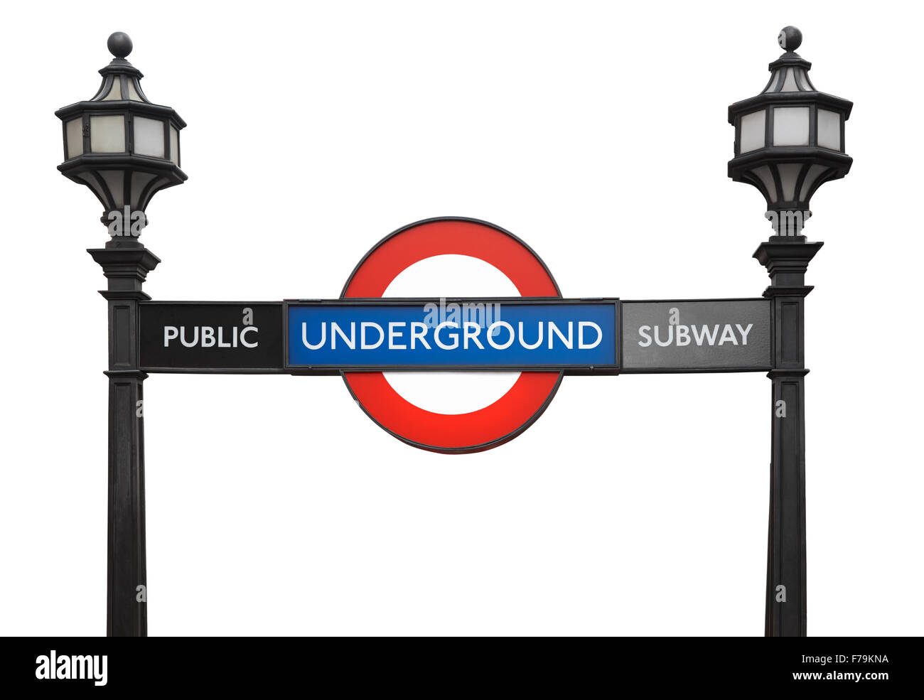 Famous London public underground subway sign with street lamps isolated on white, clipping path included - Stock Image