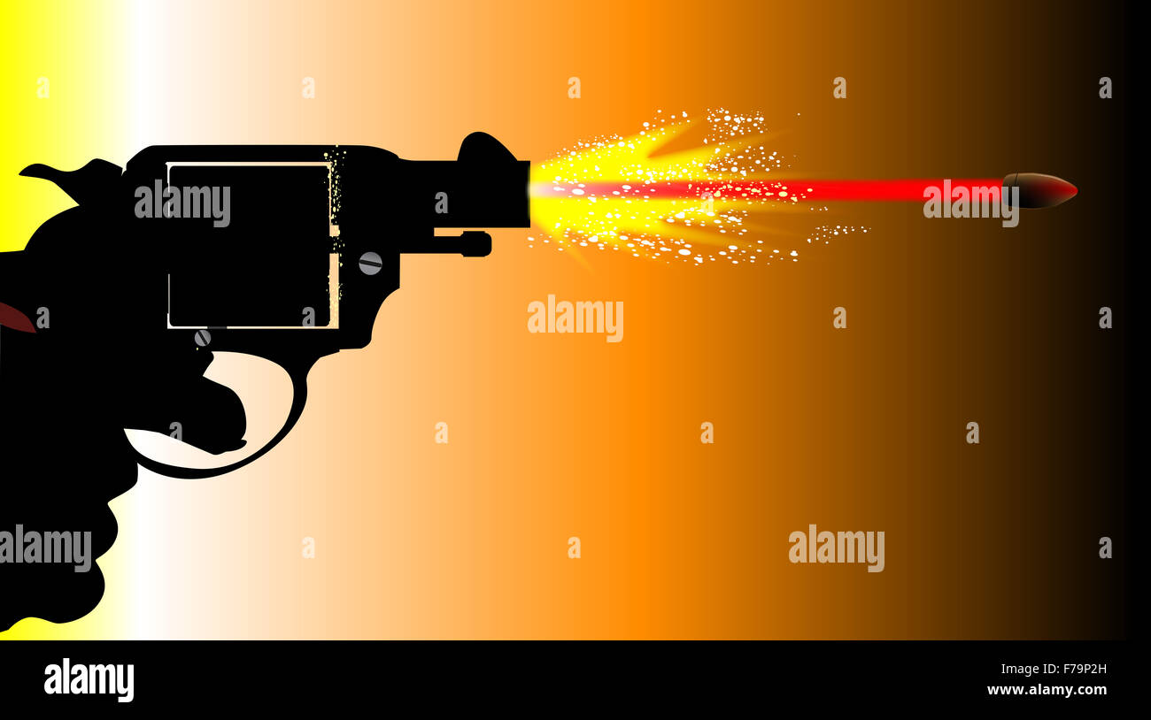 A snub nose revolver pistol firing with muzzle flash and speeding bullet. - Stock Image