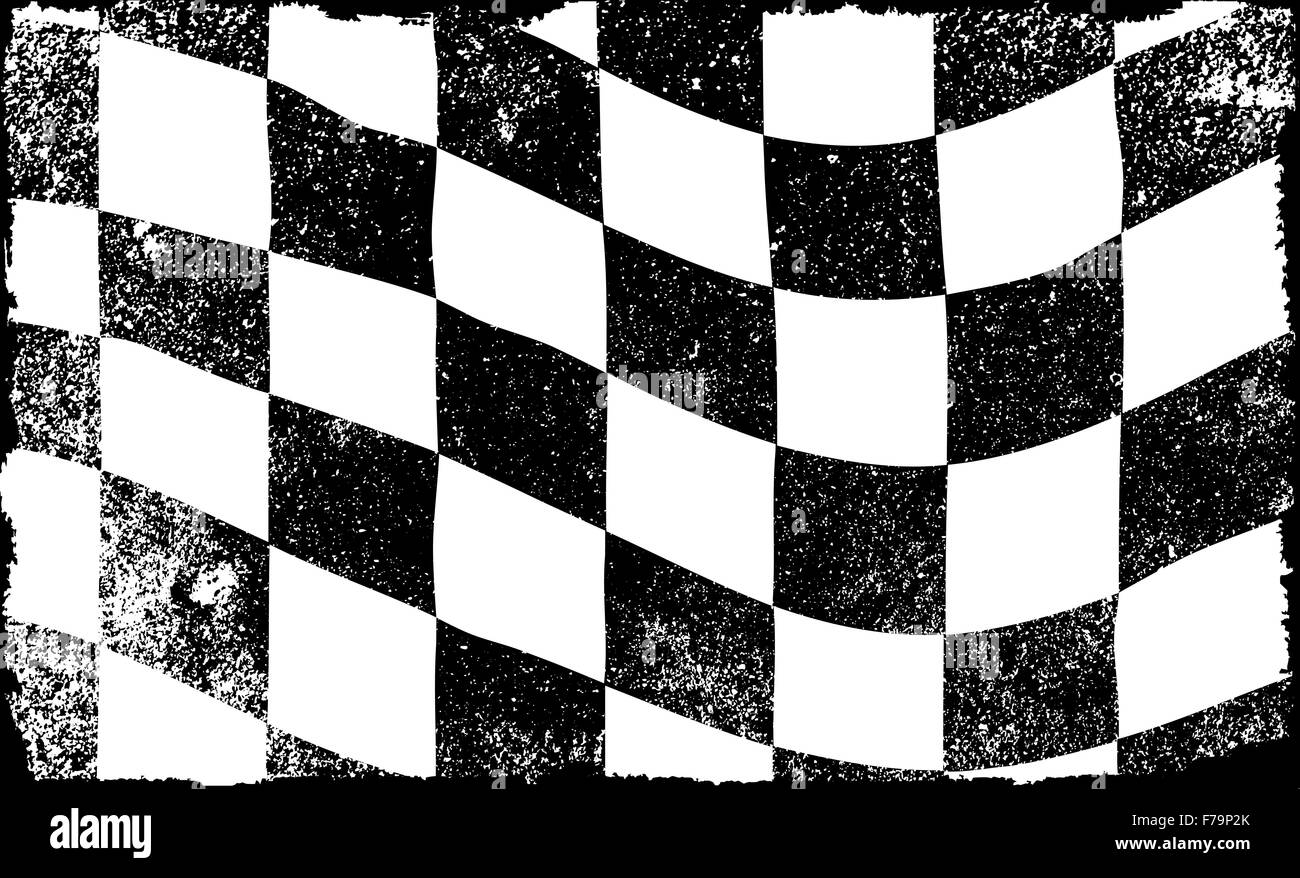 A grunge checkered race event flag in black and white - Stock Image