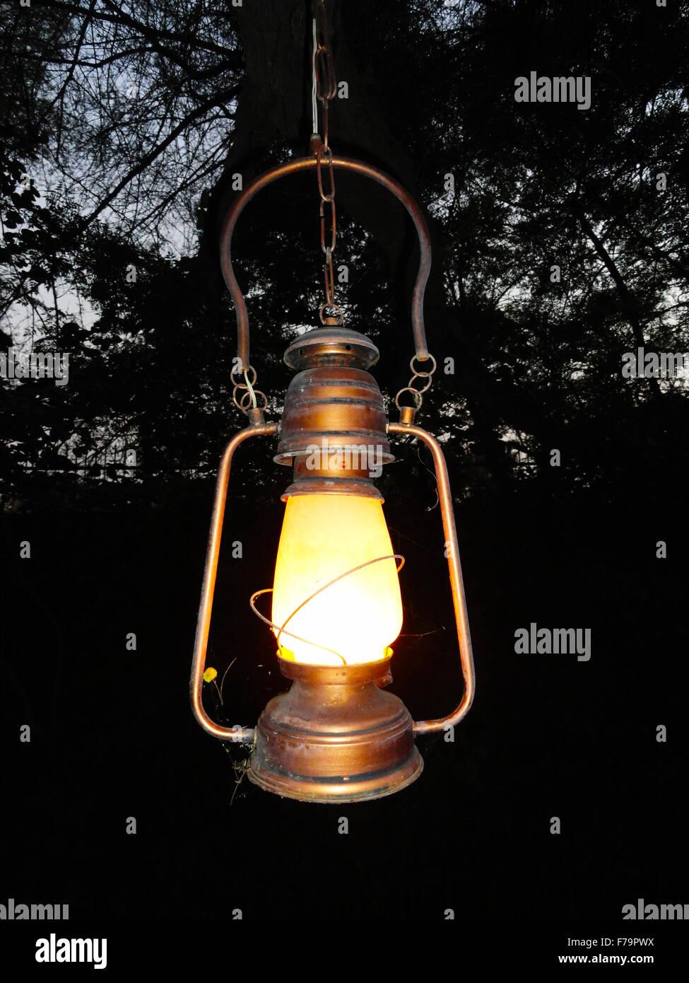 Old Kerosene Hanging Lantern - Stock Image