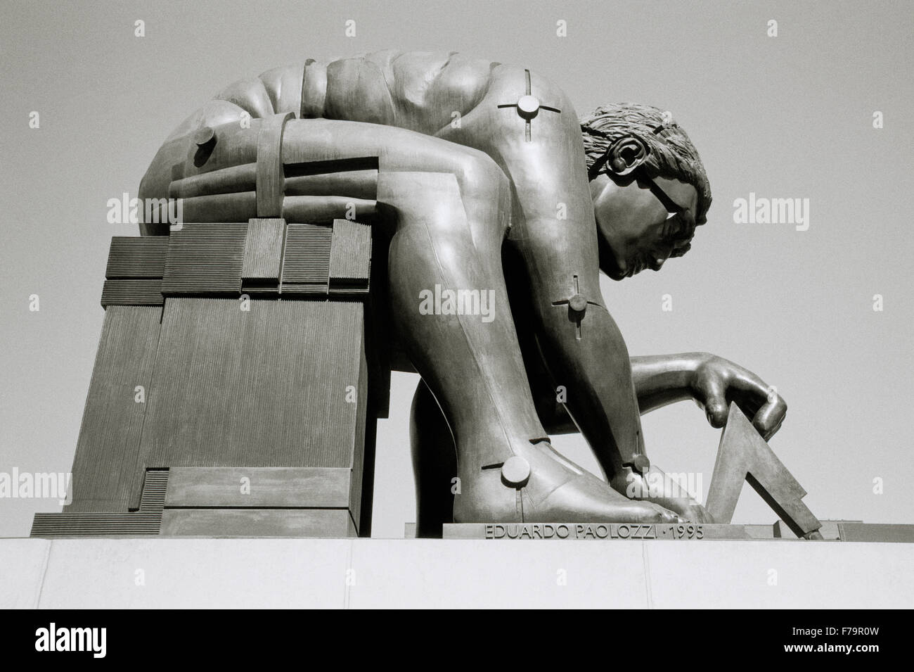 Eduardo Paolozzi sculpture of Sir Isaac Newton in the British Library in London in England in Great Britain in the Stock Photo
