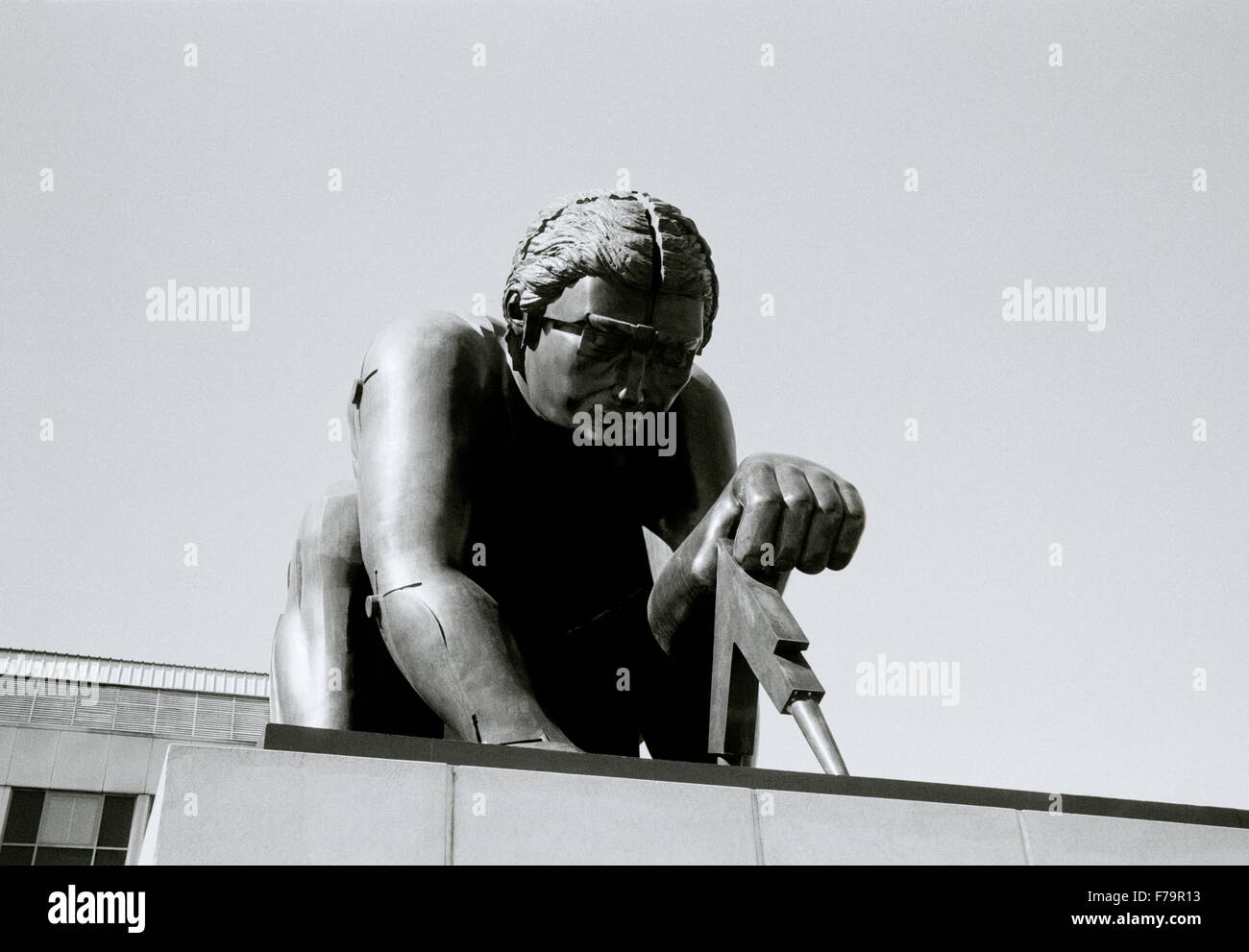Eduardo Paolozzi sculpture of Sir Isaac Newton in the British Library in London in England in Great Britain in the - Stock Image