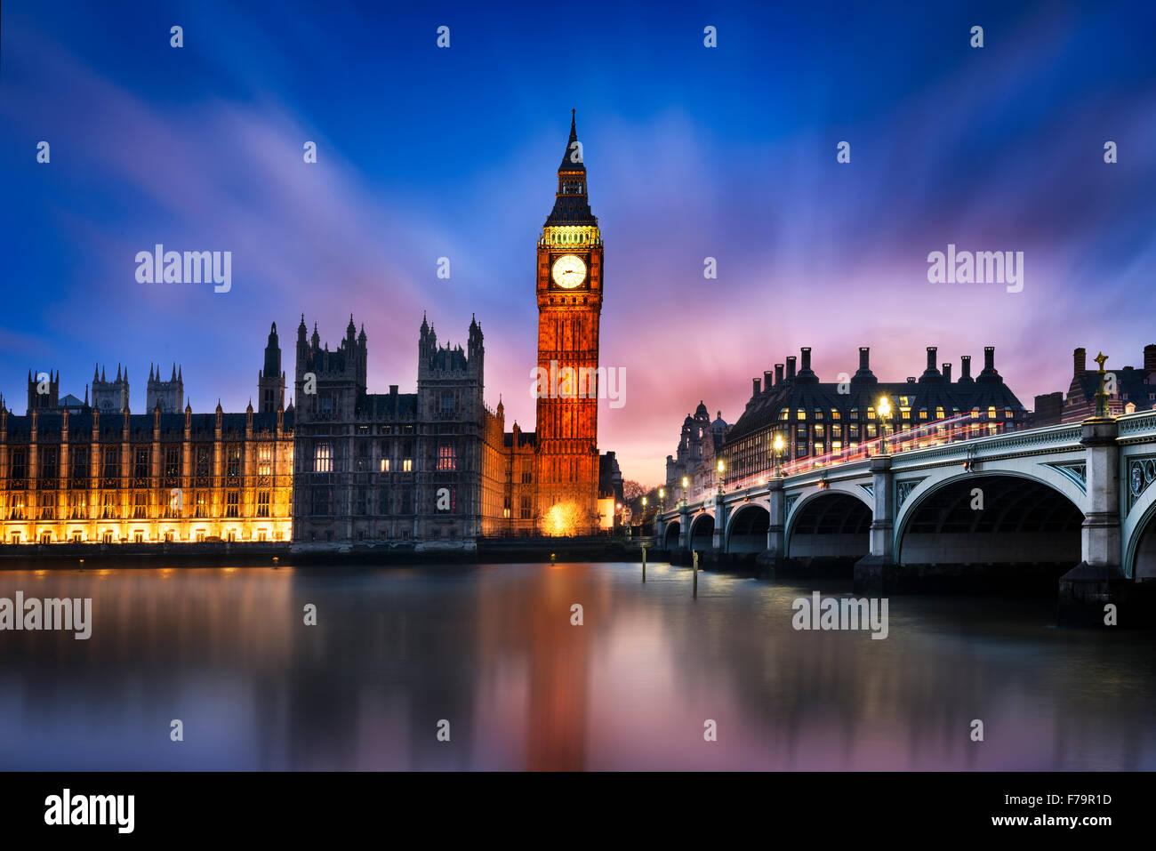 Big Ben and Westminster Bridge at dusk, London, UK - Stock Image