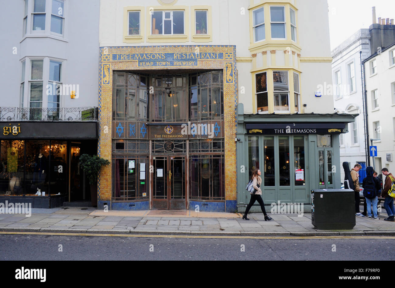 The Freemasons also known as the Freemasons Inn and the Freemasons Inn and Restaurant in Brighton UK - Stock Image