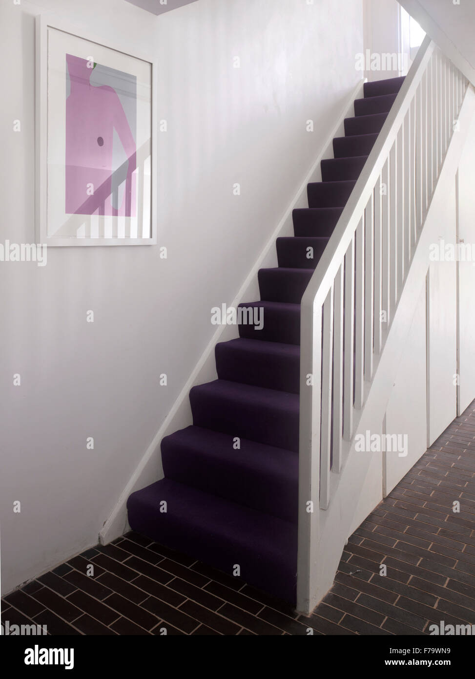 Staircase  in refurbished 1960s social housing, Vauxhall, London, England, UK - Stock Image