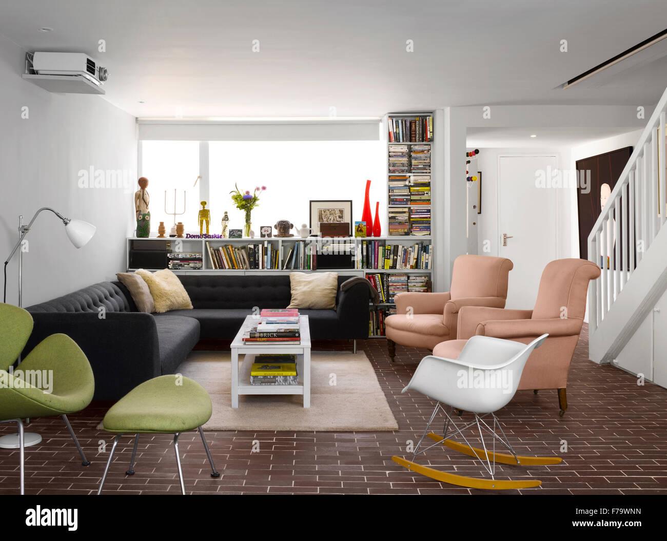 Lounge  in refurbished 1960s social housing, Vauxhall, London, England, UK - Stock Image