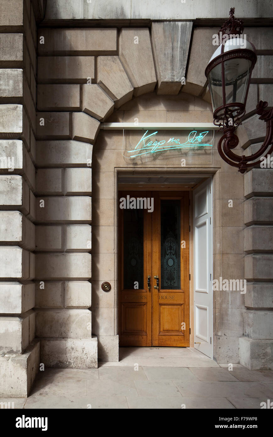 Keepers House, Royal Academy, London. Entrance with Tracy Emin Neon. Reads ' Keep me Safe'. Stock Photo