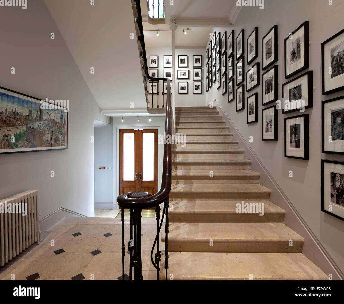 Keepers House, Royal Academy, London. Entrance hallway and staircase. Royal Academics pictured. Stock Photo