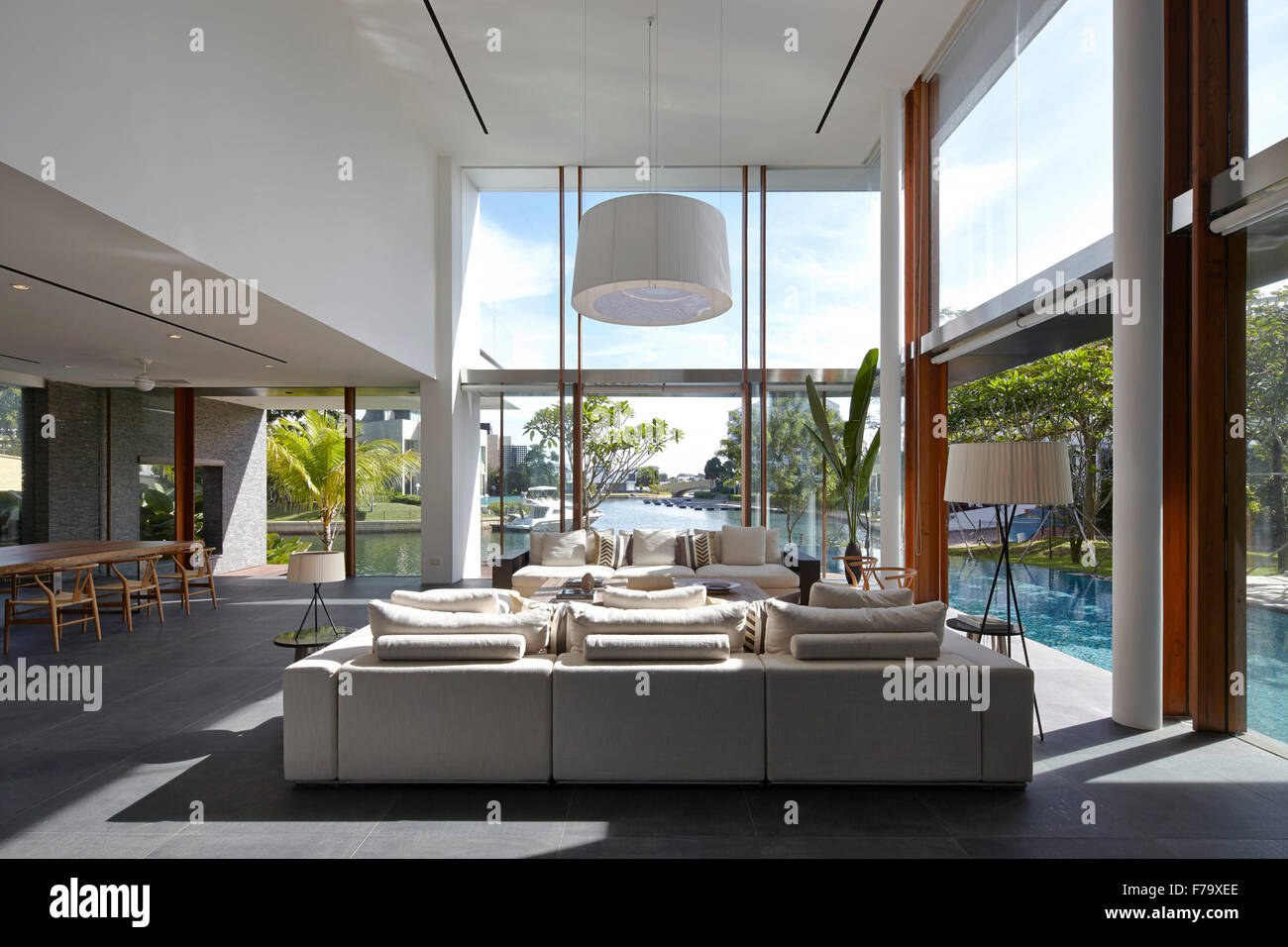 Open plan double height living room in Cove Way House Sentosa Singapore & Open plan double height living room in Cove Way House Sentosa Stock ...