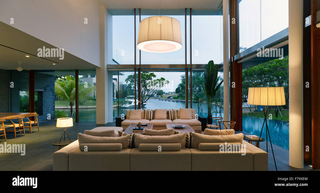 Lit double height living room in Cove Way House Sentosa Singapore - Stock Image & Lit Double Height Living Room Stock Photos \u0026 Lit Double Height ...