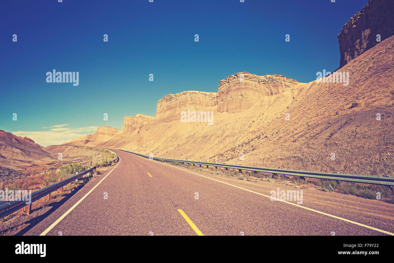 Vintage toned country highway, Utah State, USA. - Stock Image