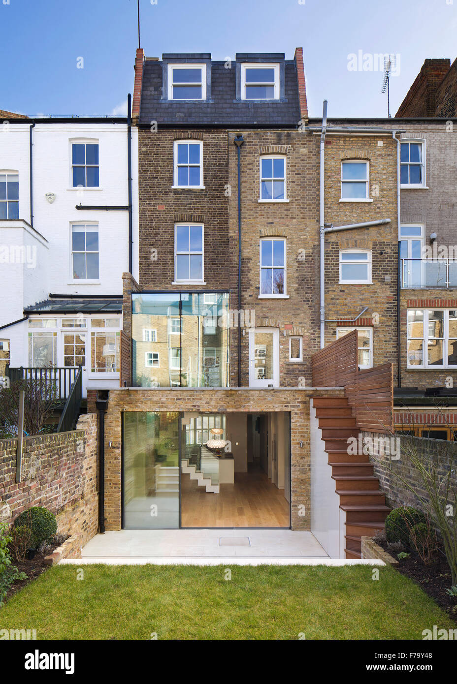 Exterior of modern family home, London 2012, design by de Rosee Sa - Stock Image