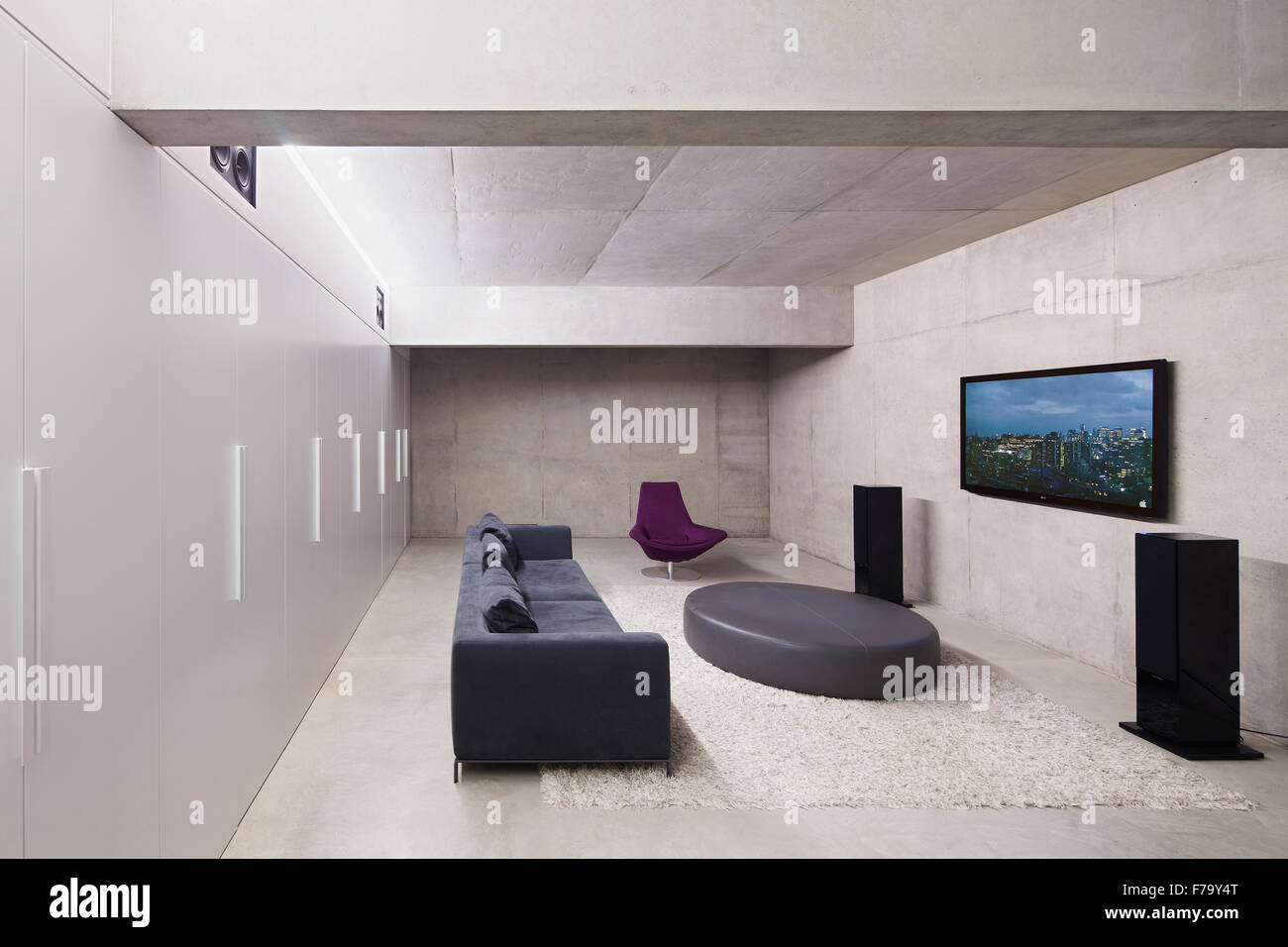 cinema room furniture. Cinema Room In Modern Family Home 2013, Design By Found Associates - Stock Image Furniture S