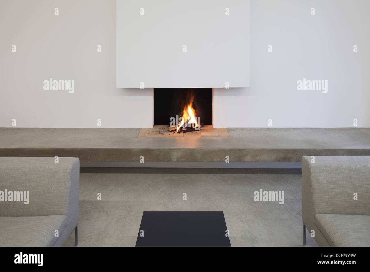 Fire Place in modern family home 2013, design by Found Associates - Stock Image