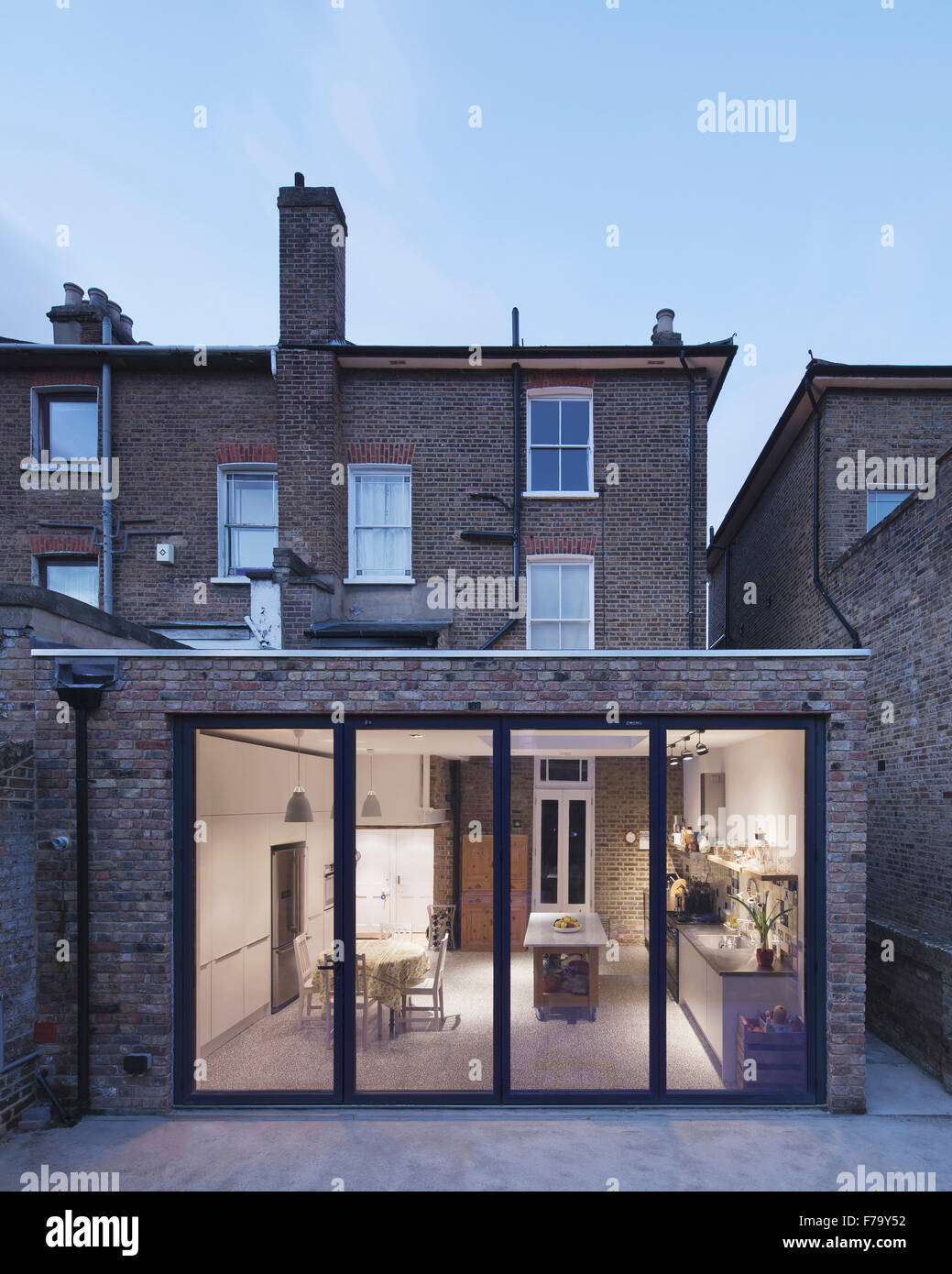Kitchen extension, view from garden, London 2013, design by FORA Architects - Stock Image